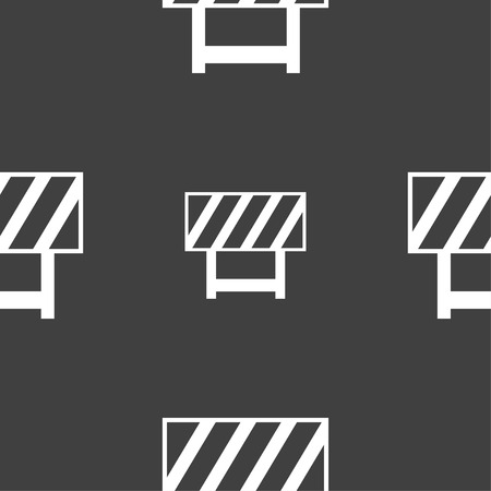 traffic barricade: road barrier icon sign. Seamless pattern on a gray background. illustration