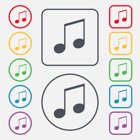 accord: musical note, music, ringtone icon sign. symbol on the Round and square buttons with frame. illustration
