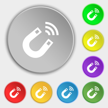natural forces: Magnet icon sign. Symbol on eight flat buttons. illustration