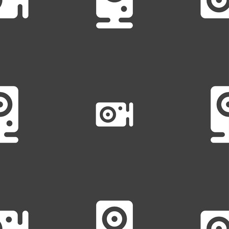web cam: Web cam icon sign. Seamless pattern on a gray background. illustration Stock Photo