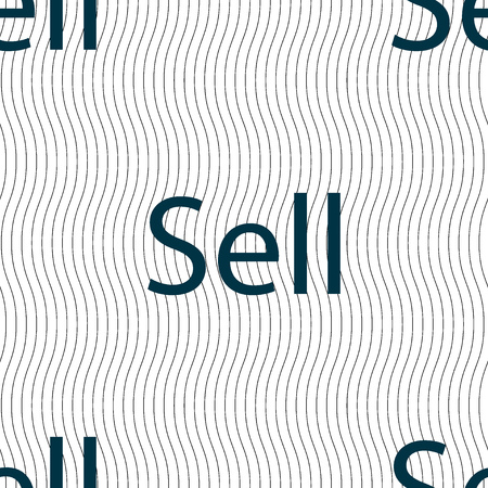 earnings: Sell sign icon. Contributor earnings button. Seamless pattern with geometric texture. illustration