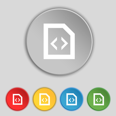 programming code: Programming code icon sign. Symbol on five flat buttons. illustration