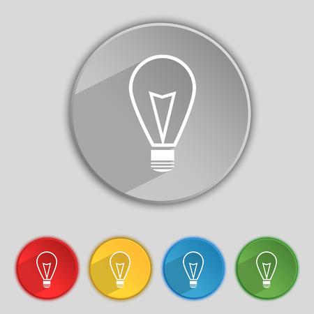 idea icon: Light lamp sign icon. Idea symbol. Lightis on. Set of colored buttons. illustration