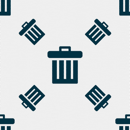 discard: Recycle bin icon sign. Seamless pattern with geometric texture. illustration Stock Photo