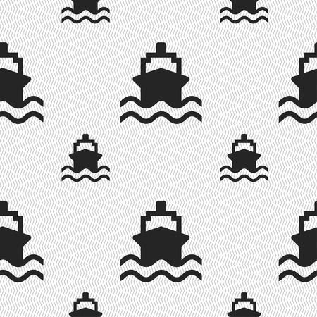 marine industry: ship icon sign. Seamless pattern with geometric texture. illustration