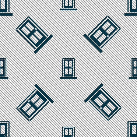 door icon: Door icon sign. Seamless pattern with geometric texture. illustration