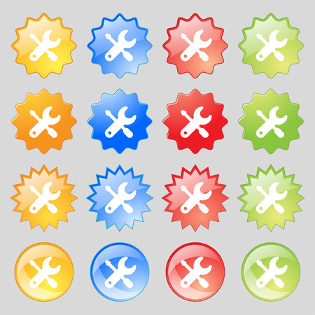 trackpad: screwdriver, key, settings icon sign. Set from fourteen multi-colored glass buttons with place for text. illustration