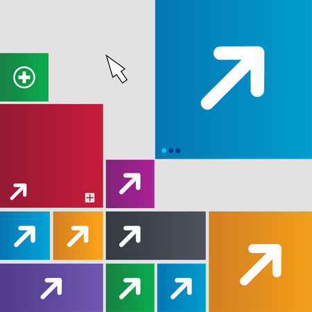 expand: Arrow Expand Full screen Scale icon sign. Metro style buttons. Modern interface website buttons with cursor pointer. illustration