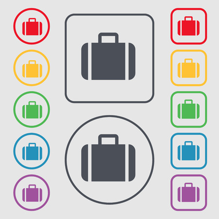 suit case: Suitcase icon sign. symbol on the Round and square buttons with frame. illustration