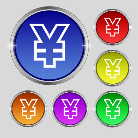 jpy: Yen JPY icon sign. Round symbol on bright colourful buttons. illustration Stock Photo