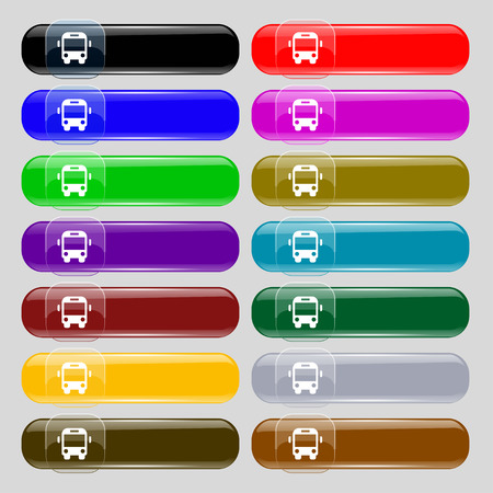 schoolbus: Bus icon sign. Set from fourteen multi-colored glass buttons with place for text. illustration
