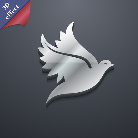 3d dove: Dove icon symbol. 3D style. Trendy, modern design with space for your text illustration. Rastrized copy Stock Photo