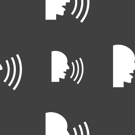 loudy: Talking Flat modern web icon. Seamless pattern on a gray background. illustration