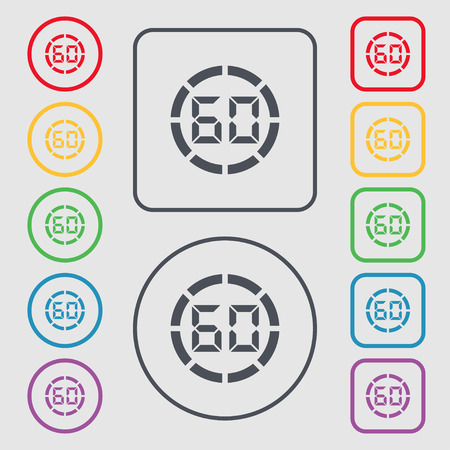 corner clock: 60 second stopwatch icon sign. Symbols on the Round and square buttons with frame. illustration