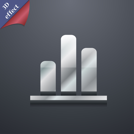 upturn: Growth and development concept. graph of Rate icon symbol. 3D style. Trendy, modern design with space for your text illustration. Rastrized copy
