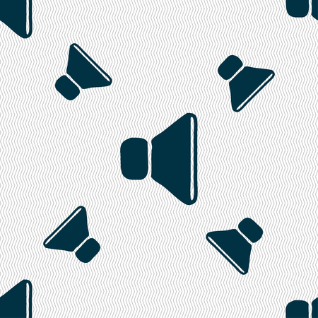max: volume, sound icon sign. Seamless pattern with geometric texture. illustration