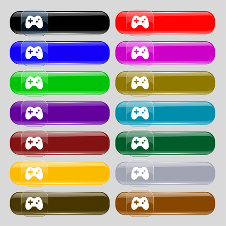 quality controller: Joystick icon sign. Set from fourteen multi-colored glass buttons with place for text. illustration