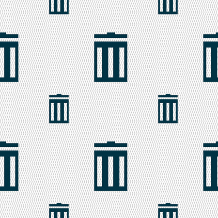 utilization: Recycle bin sign icon. Symbol. Seamless pattern with geometric texture. illustration