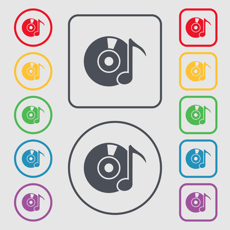 CD or DVD icon sign. Symbols on the Round and square buttons with frame. illustration