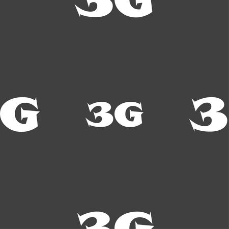 3g: 3G sign icon. Mobile telecommunications technology symbol. Seamless pattern on a gray background. illustration Stock Photo