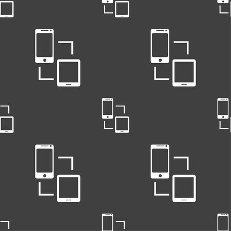 sync: Synchronization sign icon. communicators sync symbol. Data exchange. Seamless pattern on a gray background. illustration