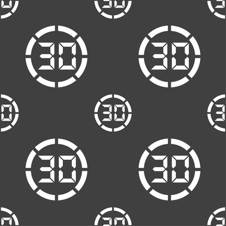 min: 30 second stopwatch icon sign. Seamless pattern on a gray background. illustration