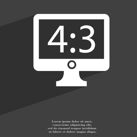 aspect: Aspect ratio 4 3 widescreen tv icon symbol Flat modern web design with long shadow and space for your text. illustration
