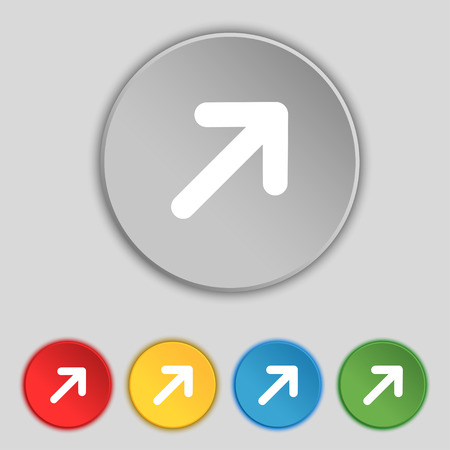 expand: Arrow Expand Full screen Scale icon sign. Symbol on five flat buttons. illustration