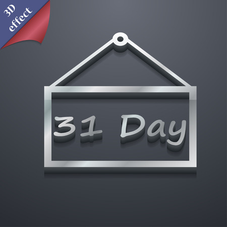 31: Calendar day, 31 days icon symbol. 3D style. Trendy, modern design with space for your text illustration. Rastrized copy