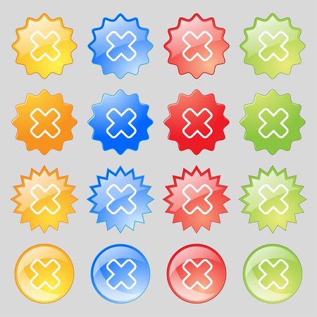 dismiss: Cancel icon sign. Big set of 16 colorful modern buttons for your design. illustration