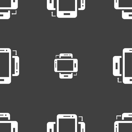 sync: Synchronization sign icon. smartphones sync symbol. Data exchange. Seamless pattern on a gray background. illustration Stock Photo