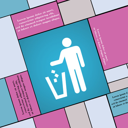 throw away: throw away the trash icon sign. Modern flat style for your design. illustration