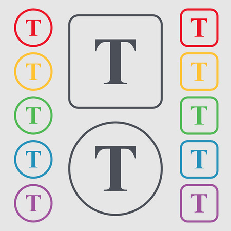 t document: Text edit icon sign. Symbols on the Round and square buttons with frame. illustration