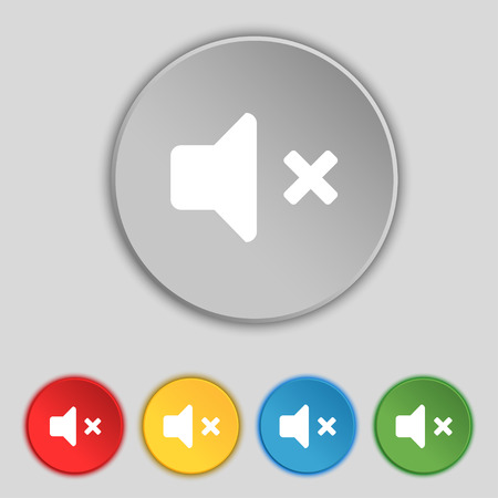 tech no: Mute speaker , Sound icon sign. Symbol on five flat buttons. illustration