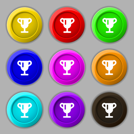 awarding: Winner cup, Awarding of winners, Trophy icon sign. symbol on nine round colourful buttons. illustration