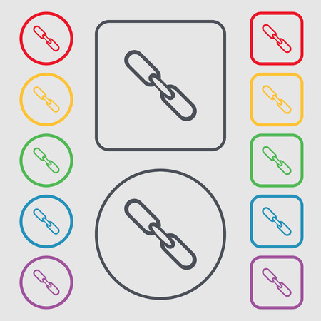 hyperlink: Link sign icon. Hyperlink chain symbol. Symbols on the Round and square buttons with frame. illustration
