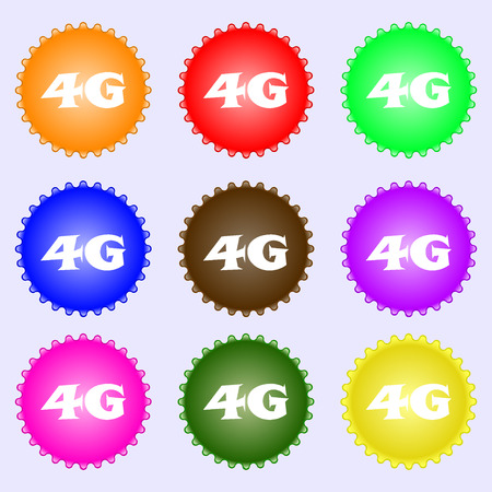 4g: 4G sign icon. Mobile telecommunications technology symbol. A set of nine different colored labels. illustration