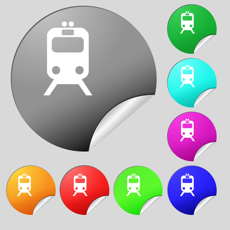 brigantine: train icon sign. Set of eight multi colored round buttons, stickers. illustration