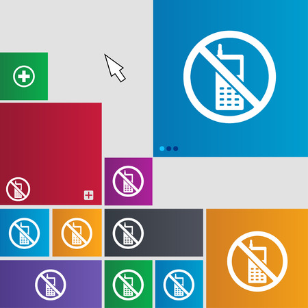 refrain: mobile phone is prohibited icon sign. buttons. Modern interface website buttons with cursor pointer. illustration Stock Photo