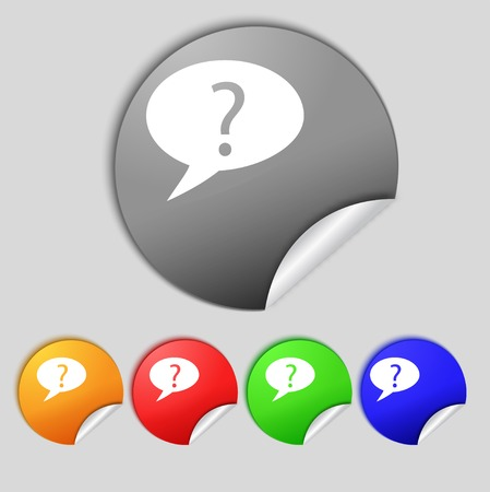 quality questions: Question mark sign icon. Help speech bubble symbol. FAQ sign Set colourful buttons illustration Stock Photo