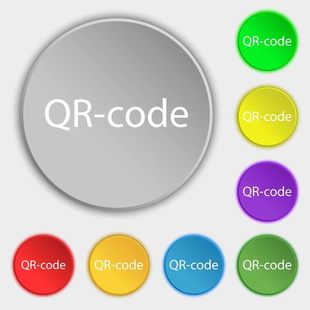Qr code sign icon. Scan code symbol. Symbols on eight flat buttons. illustration