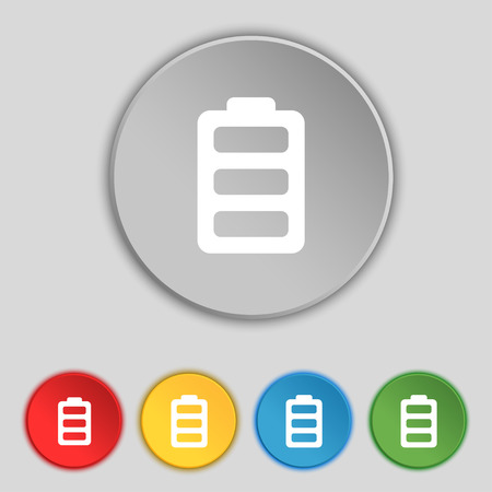 fully: Battery fully charged icon sign. Symbol on five flat buttons. illustration