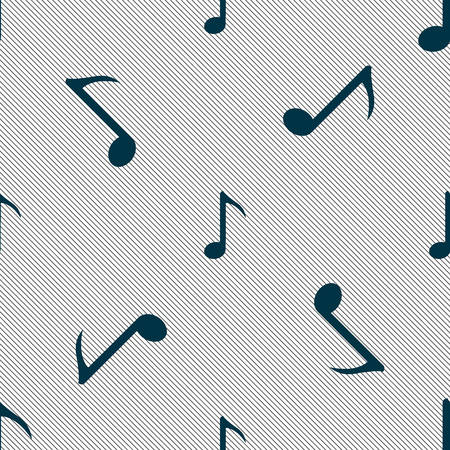 sign simplicity: Music note icon sign. Seamless pattern with geometric texture. illustration Stock Photo