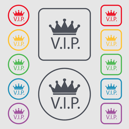 celebrities: Vip sign icon. Membership symbol. Very important person. Set of colored buttons. illustration