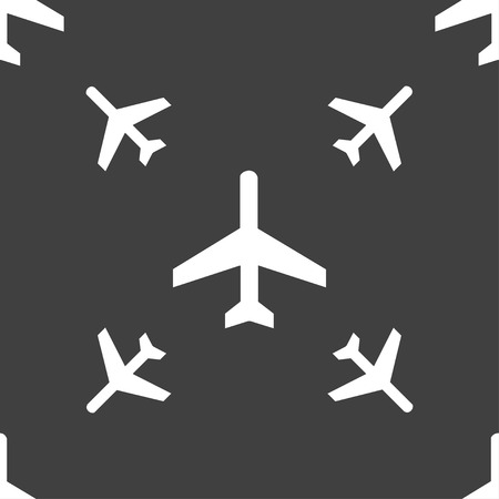 fender: airplane icon sign. Seamless pattern on a gray background. illustration Stock Photo