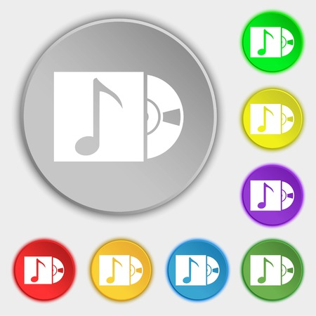 cd player: cd player icon sign. Symbols on eight flat buttons. illustration
