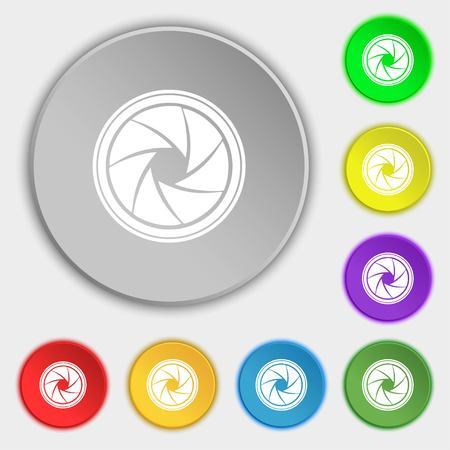 diaphragm: diaphragm icon. Aperture sign. Symbols on eight flat buttons. illustration