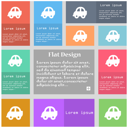 coupe: Auto icon sign. Set of multicolored buttons with space for text. illustration