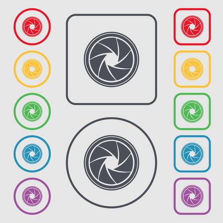 diaphragm: diaphragm icon. Aperture sign. Symbols on the Round and square buttons with frame. illustration