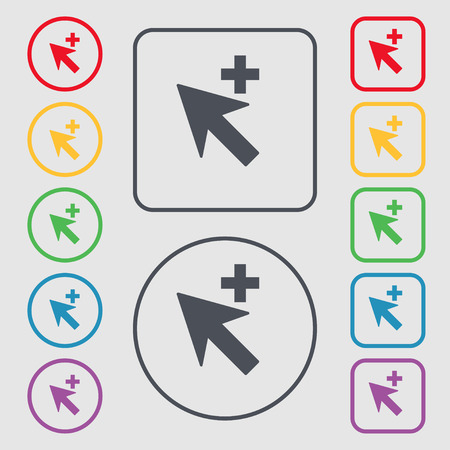add icon: Cursor, arrow plus, add icon sign. symbol on the Round and square buttons with frame. illustration Stock Photo